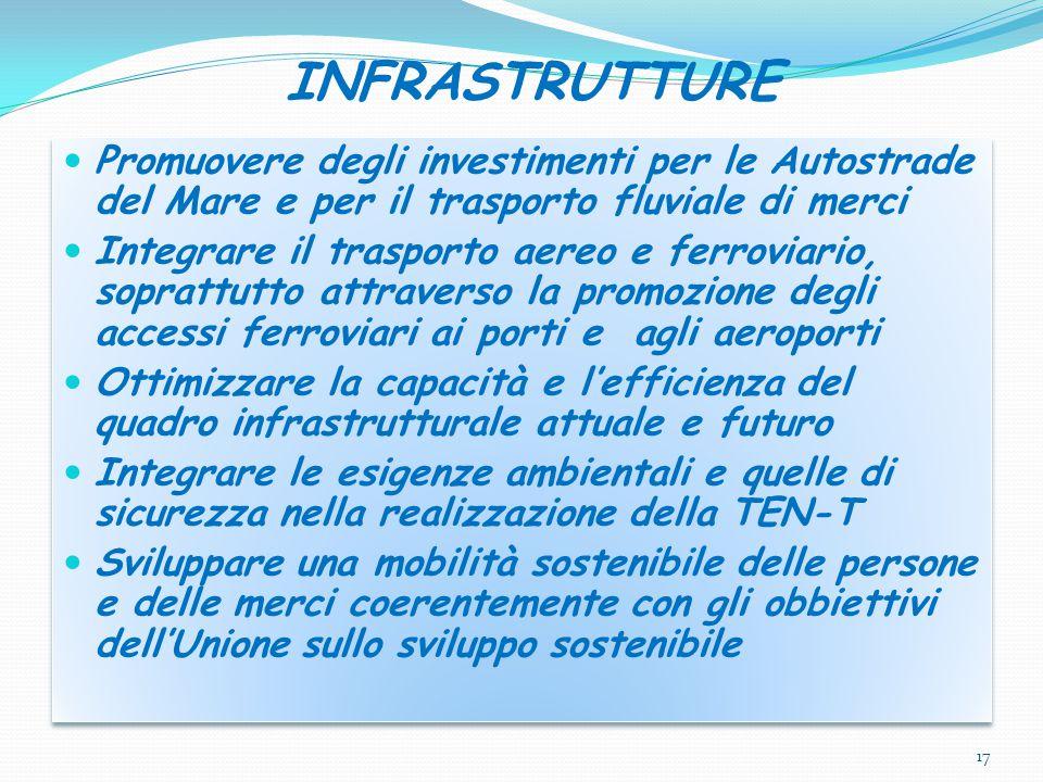 INFRASTRUTTURE Promuovere degli investimenti per le Autostrade del Mare e per il trasporto fluviale di merci.