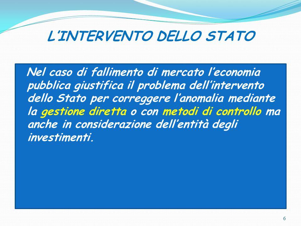 L'INTERVENTO DELLO STATO
