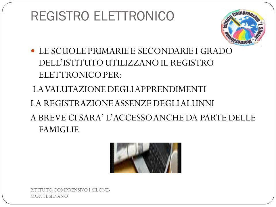 REGISTRO ELETTRONICO LE SCUOLE PRIMARIE E SECONDARIE I GRADO DELL'ISTITUTO UTILIZZANO IL REGISTRO ELETTRONICO PER: