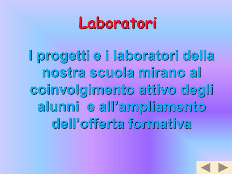 Laboratori I progetti e i laboratori della nostra scuola mirano al coinvolgimento attivo degli alunni e all'ampliamento dell'offerta formativa.