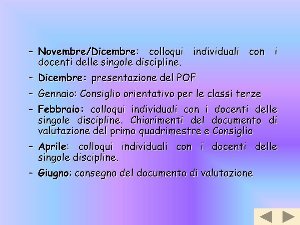 Novembre/Dicembre: colloqui individuali con i docenti delle singole discipline.
