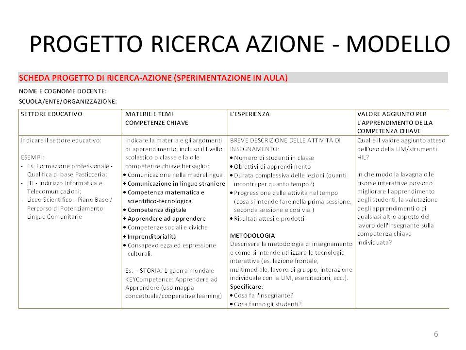 PROGETTO RICERCA AZIONE - MODELLO
