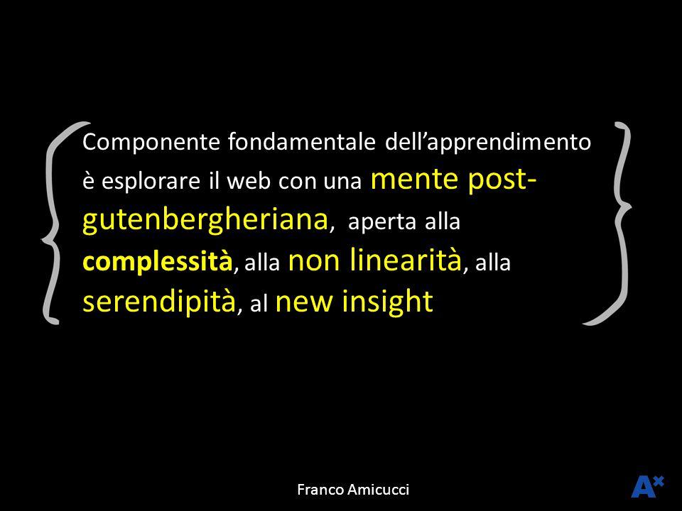 Componente fondamentale dell'apprendimento è esplorare il web con una mente post-gutenbergheriana, aperta alla complessità, alla non linearità, alla serendipità, al new insight