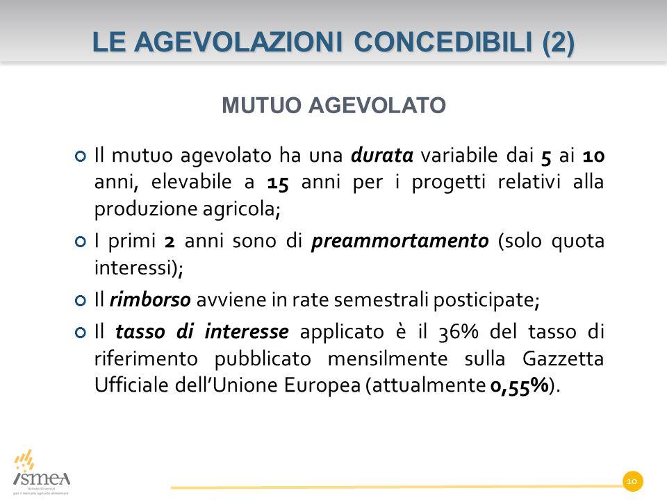LE AGEVOLAZIONI CONCEDIBILI (2)