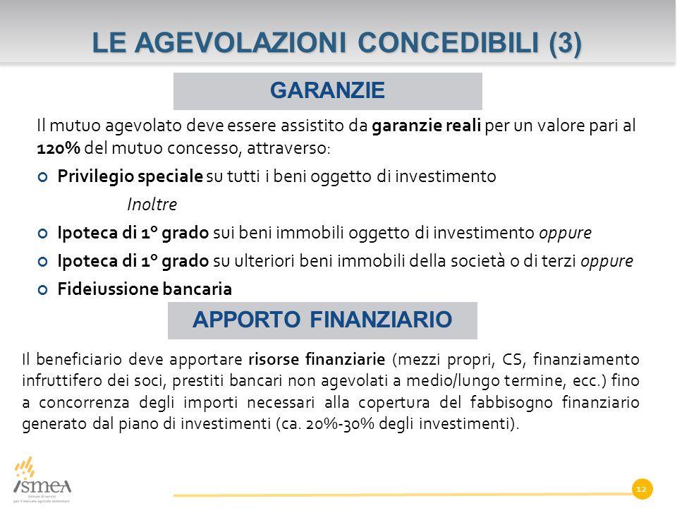 LE AGEVOLAZIONI CONCEDIBILI (3)