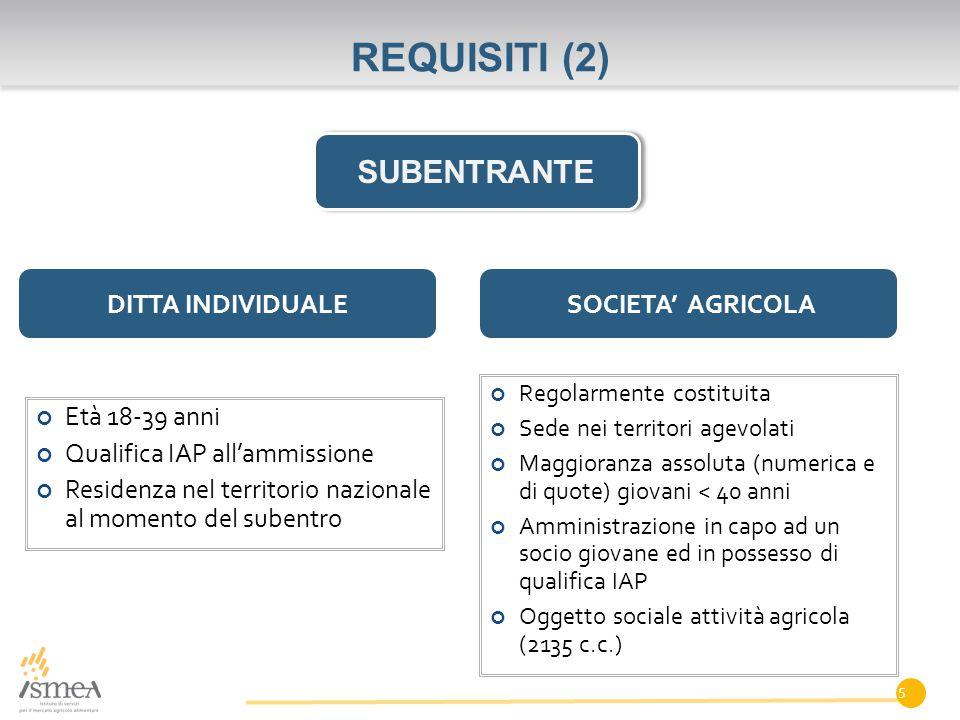 REQUISITI (2) SUBENTRANTE DITTA INDIVIDUALE SOCIETA' AGRICOLA