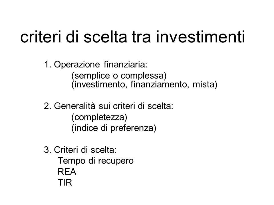 criteri di scelta tra investimenti
