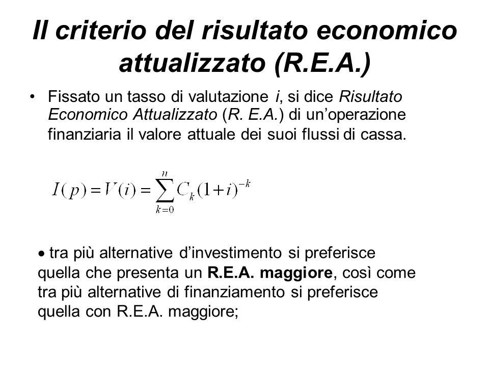 Il criterio del risultato economico attualizzato (R.E.A.)