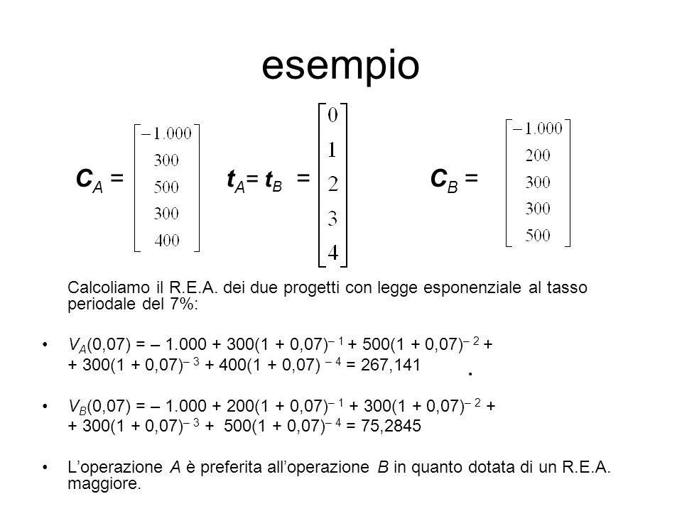 esempio CA = tA= tB = CB = Calcoliamo il R.E.A. dei due progetti con legge esponenziale al tasso periodale del 7%: