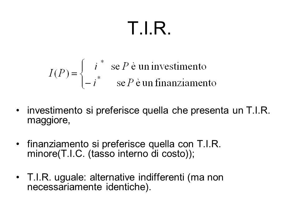 T.I.R. investimento si preferisce quella che presenta un T.I.R. maggiore,