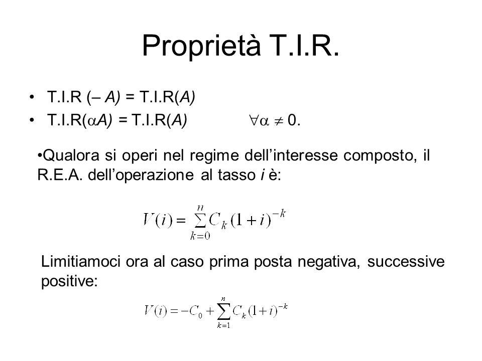 Proprietà T.I.R. T.I.R (– A) = T.I.R(A) T.I.R(A) = T.I.R(A)   0.