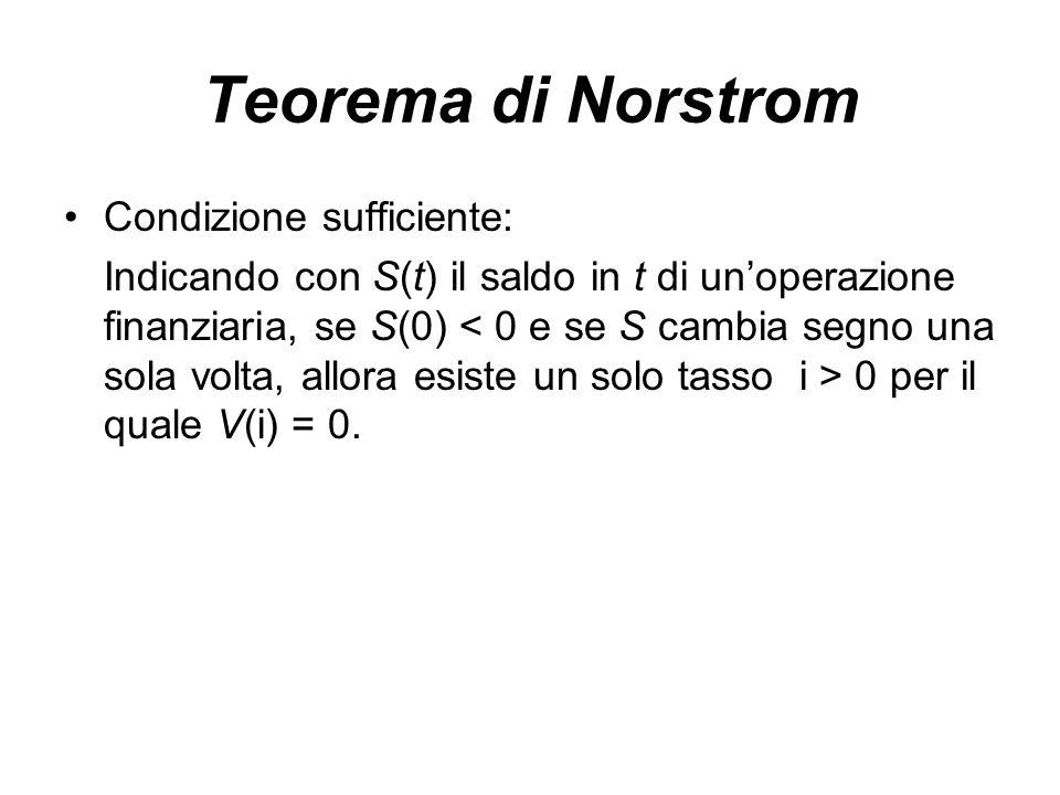 Teorema di Norstrom Condizione sufficiente: