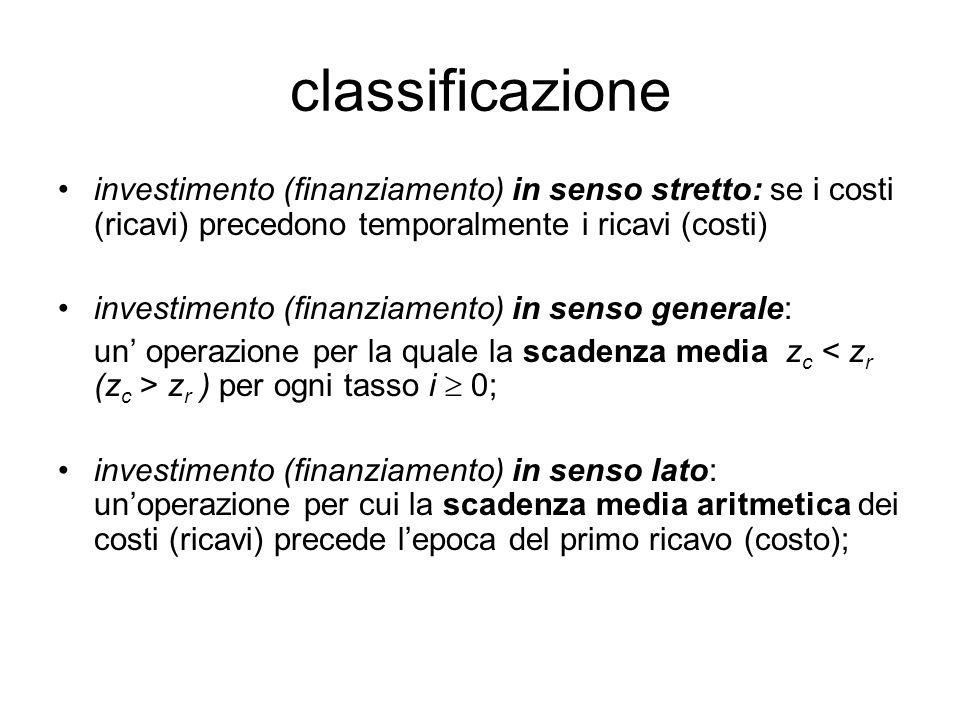 classificazione investimento (finanziamento) in senso stretto: se i costi (ricavi) precedono temporalmente i ricavi (costi)