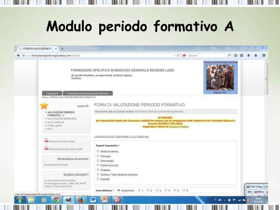 Modulo periodo formativo A