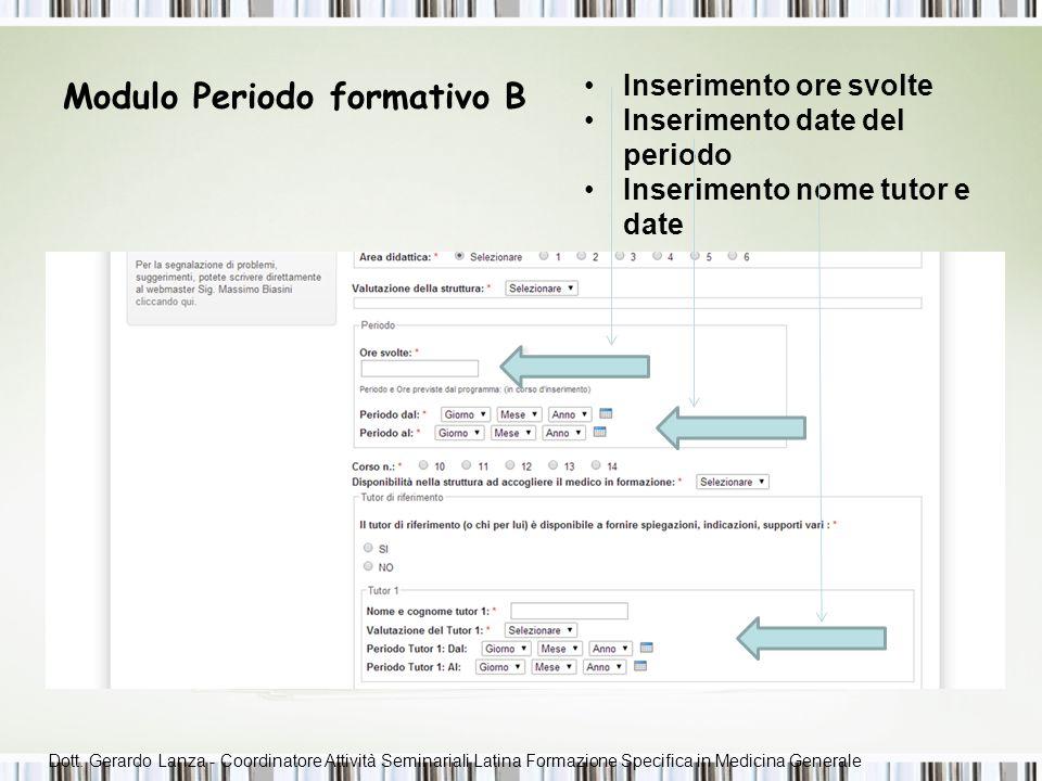 Modulo Periodo formativo B