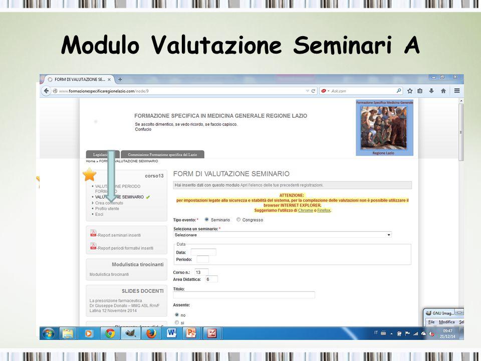 Modulo Valutazione Seminari A