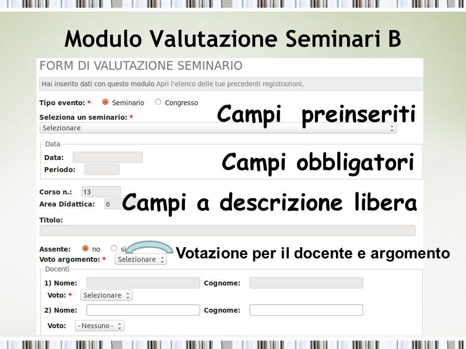 Modulo Valutazione Seminari B