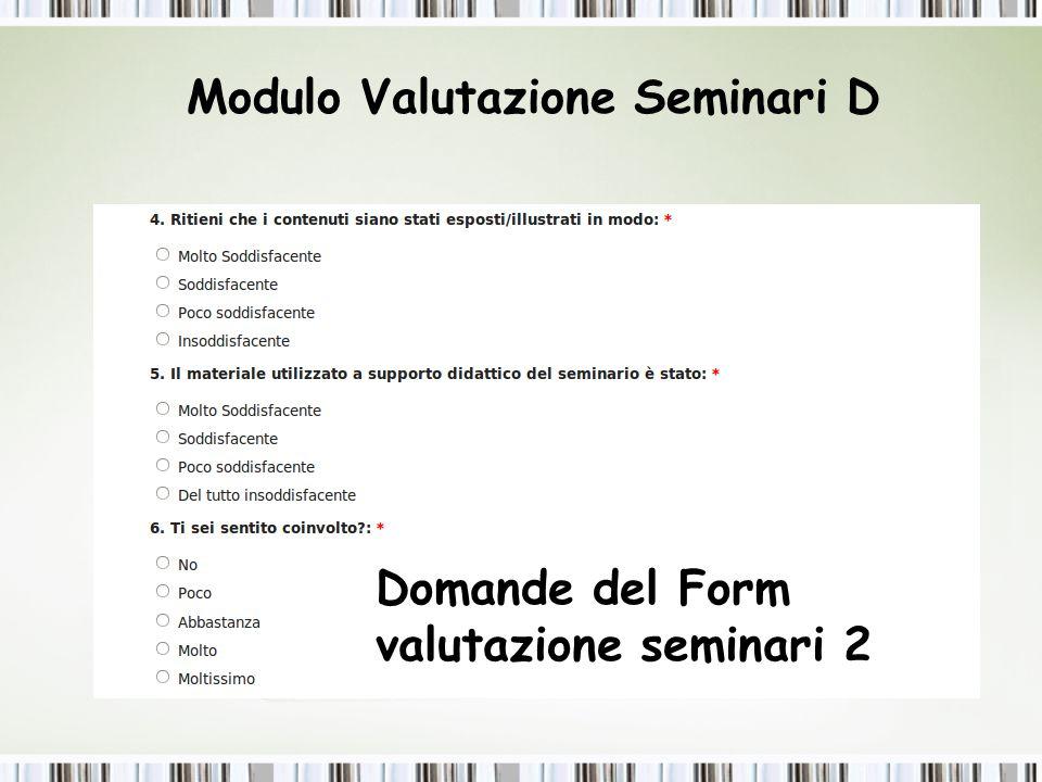 Modulo Valutazione Seminari D