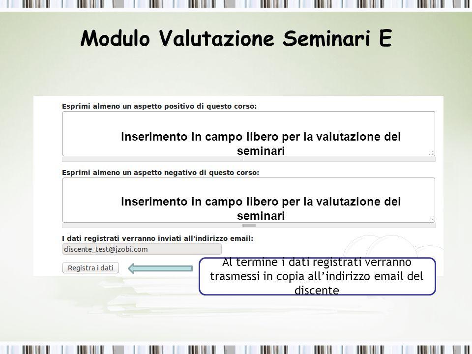 Modulo Valutazione Seminari E