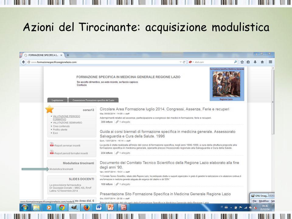 Azioni del Tirocinante: acquisizione modulistica