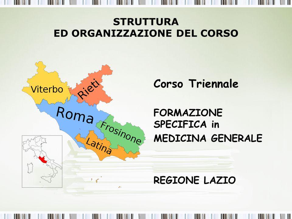 STRUTTURA ED ORGANIZZAZIONE DEL CORSO