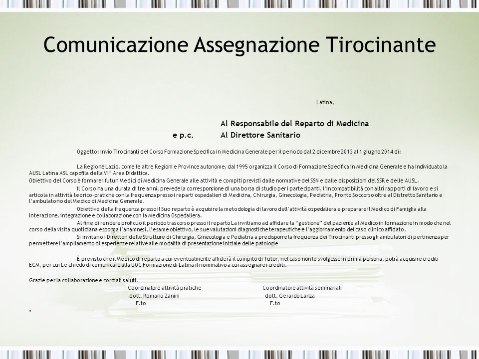 Comunicazione Assegnazione Tirocinante