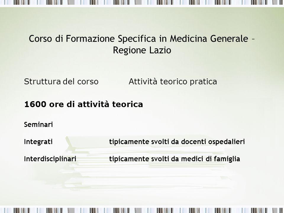 Corso di Formazione Specifica in Medicina Generale – Regione Lazio