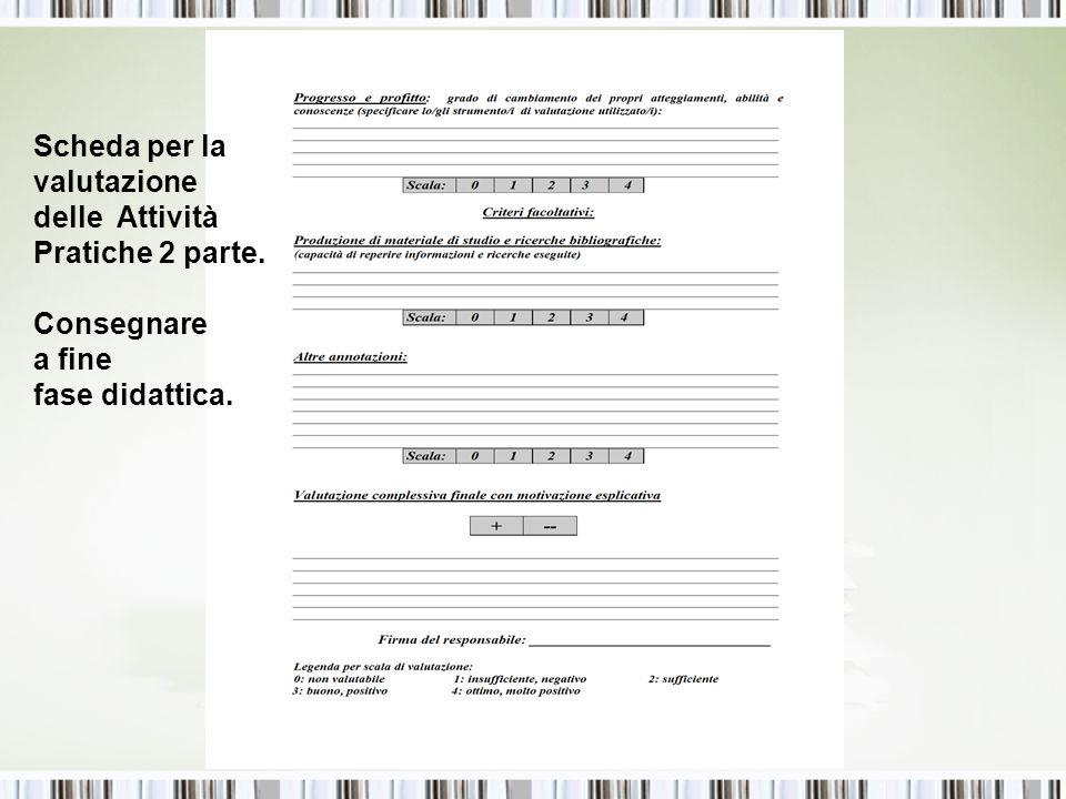 Scheda per la valutazione delle Attività Pratiche 2 parte. Consegnare a fine fase didattica.