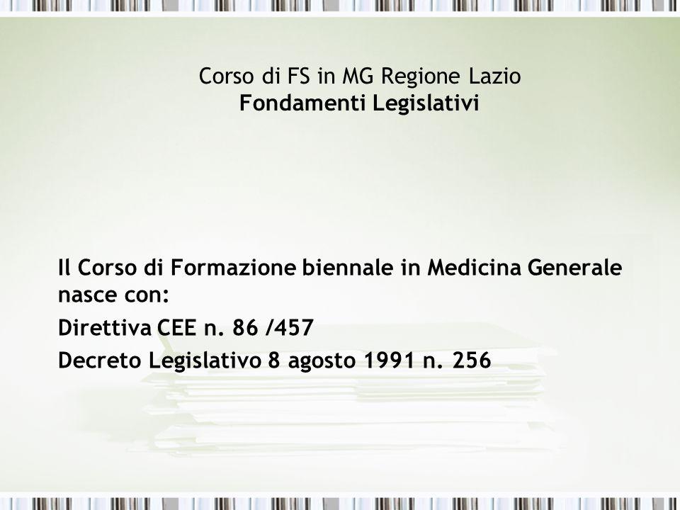Corso di FS in MG Regione Lazio Fondamenti Legislativi