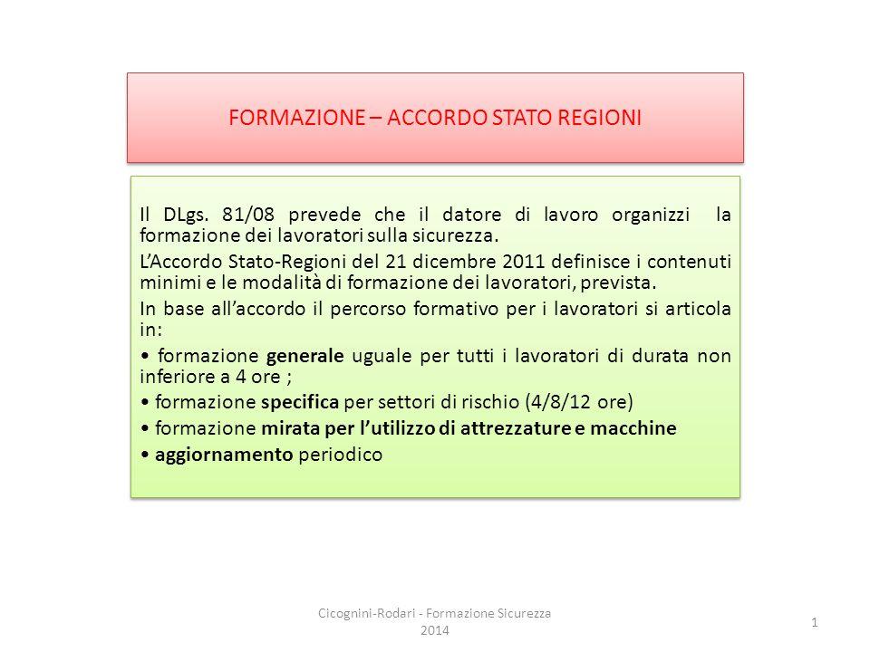 FORMAZIONE – ACCORDO STATO REGIONI