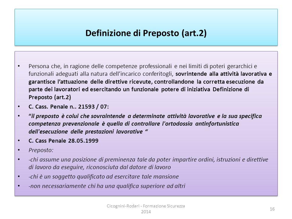 Definizione di Preposto (art.2)