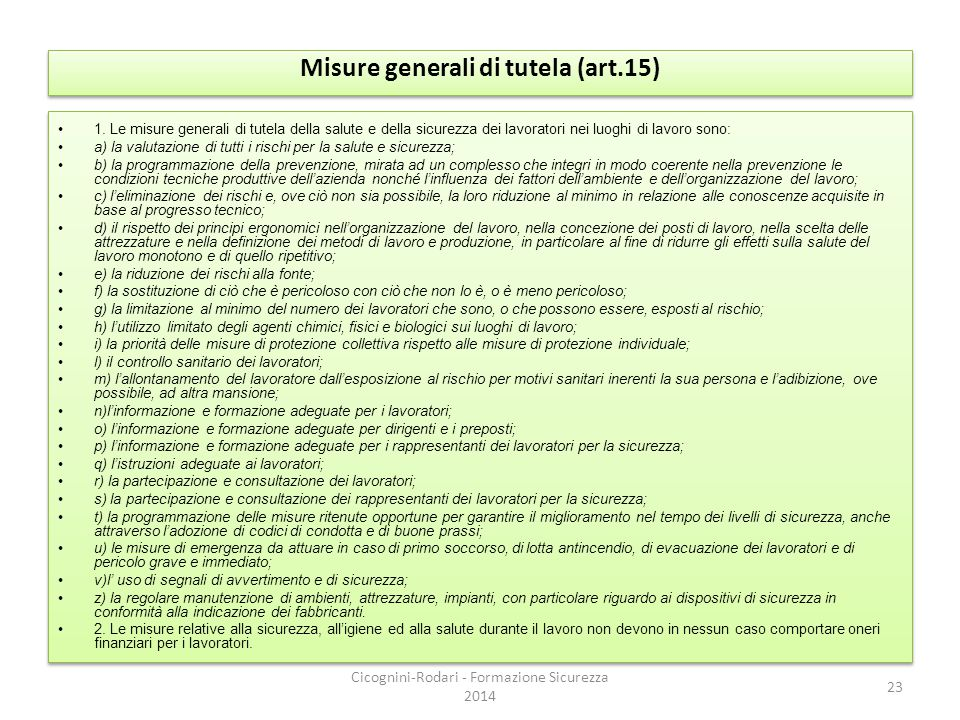 Misure generali di tutela (art.15)