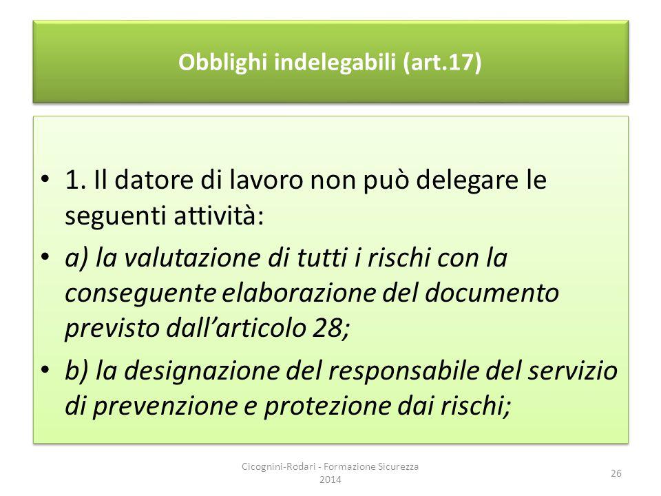 Obblighi indelegabili (art.17)
