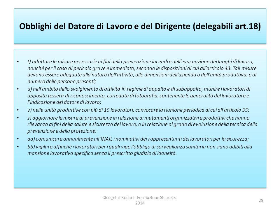 Obblighi del Datore di Lavoro e del Dirigente (delegabili art.18)