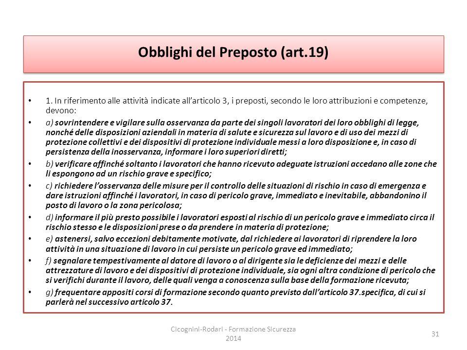 Obblighi del Preposto (art.19)