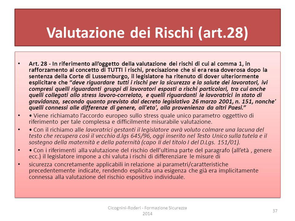 Valutazione dei Rischi (art.28)