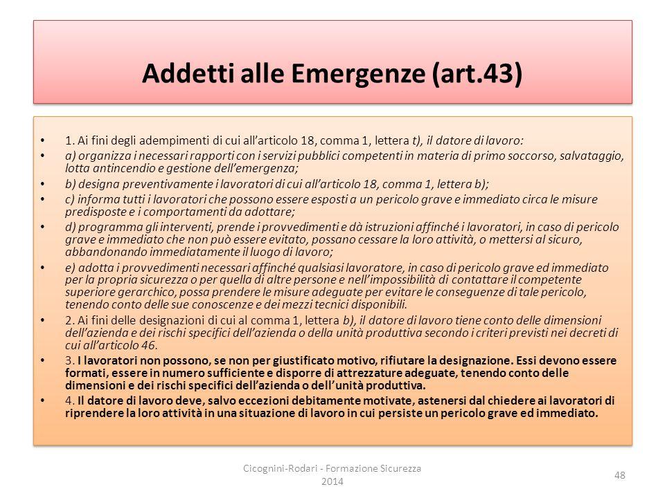 Addetti alle Emergenze (art.43)