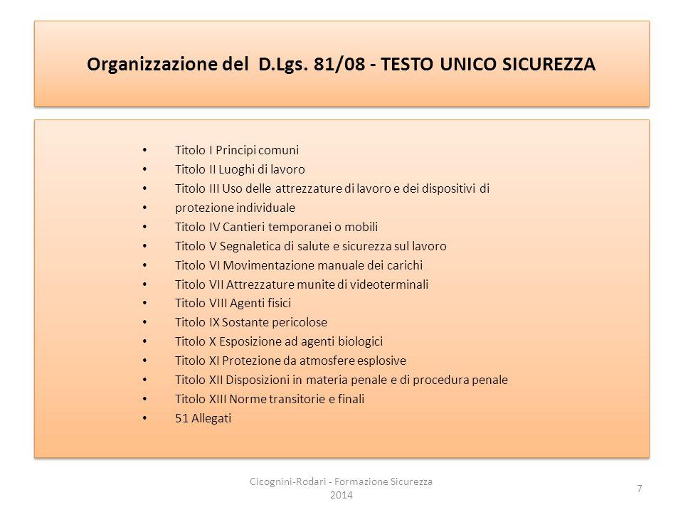 Organizzazione del D.Lgs. 81/08 - TESTO UNICO SICUREZZA