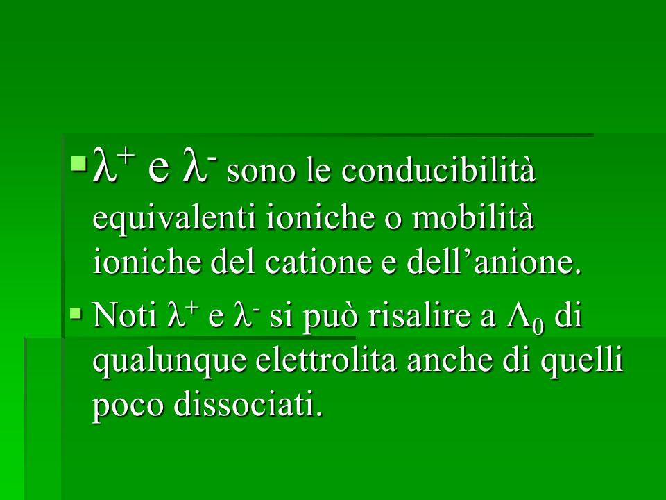 λ+ e λ- sono le conducibilità equivalenti ioniche o mobilità ioniche del catione e dell'anione.