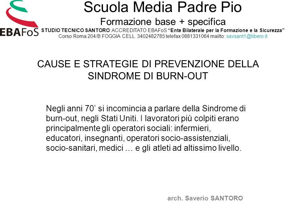 CAUSE E STRATEGIE DI PREVENZIONE DELLA SINDROME DI BURN-OUT