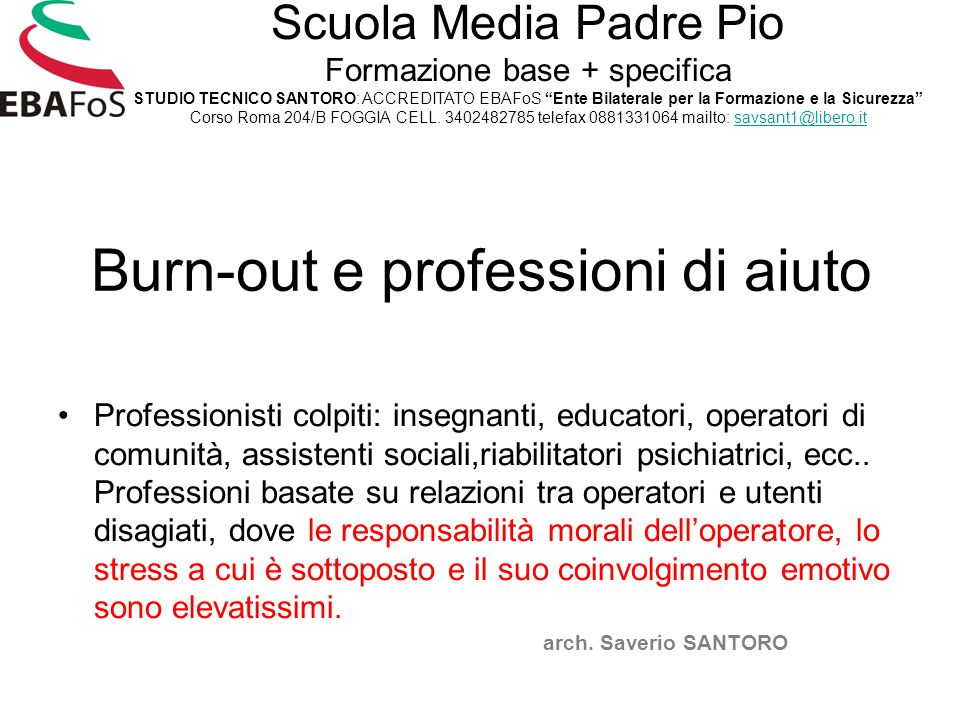 Burn-out e professioni di aiuto