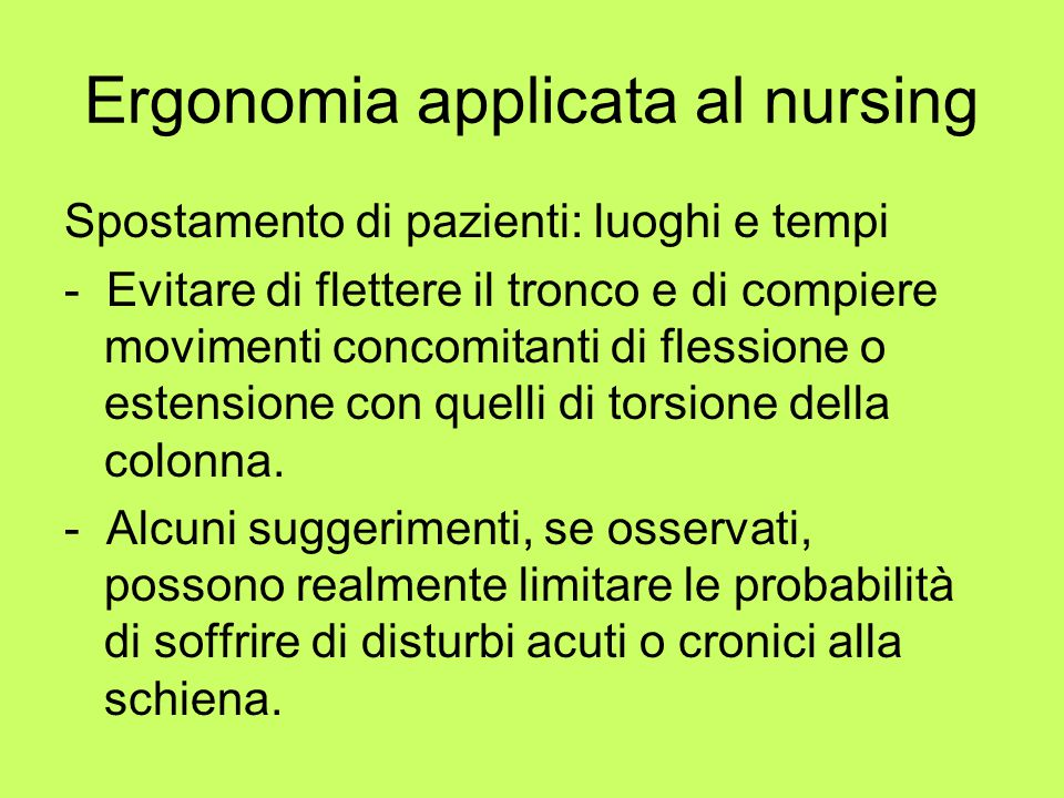 Ergonomia applicata al nursing