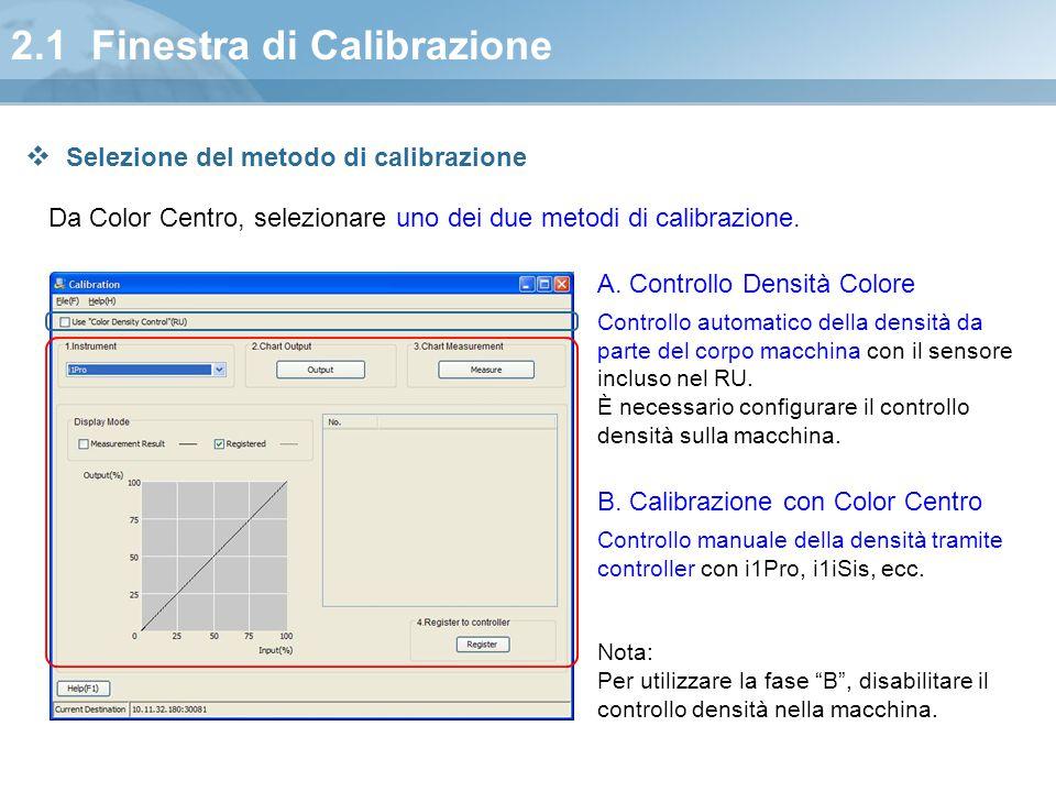 2.1 Finestra di Calibrazione