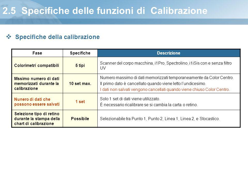 2.5 Specifiche delle funzioni di Calibrazione