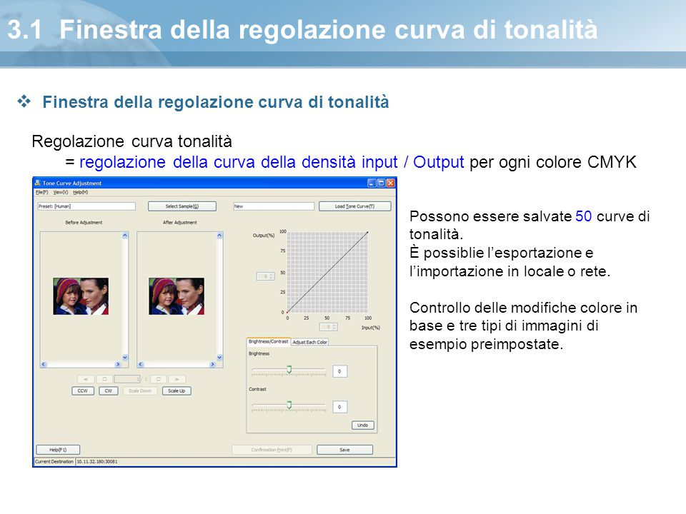 3.1 Finestra della regolazione curva di tonalità
