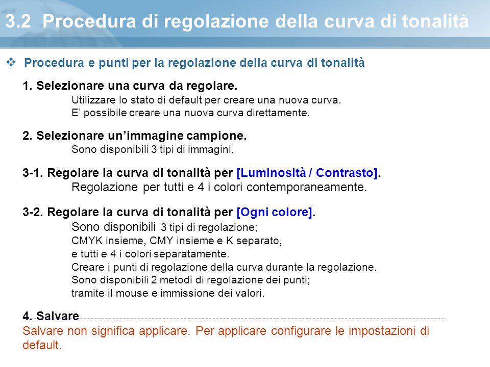 3.2 Procedura di regolazione della curva di tonalità