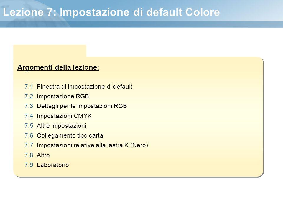 Lezione 7: Impostazione di default Colore