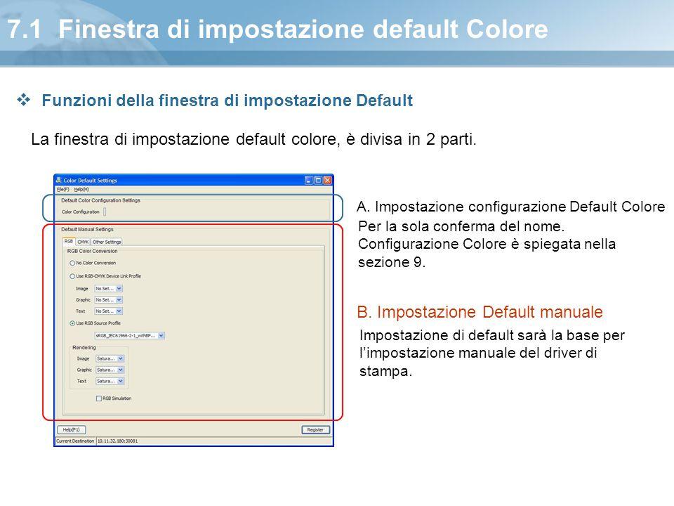 7.1 Finestra di impostazione default Colore