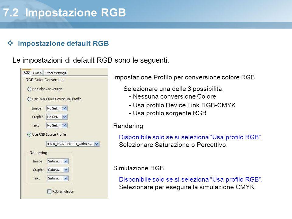 7.2 Impostazione RGB Impostazione default RGB