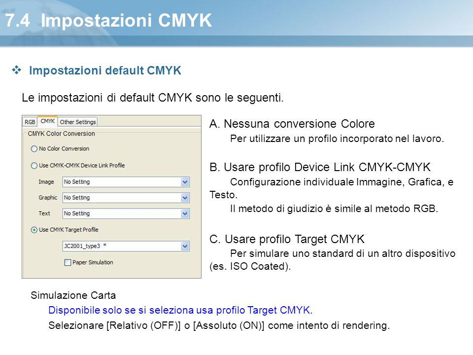 7.4 Impostazioni CMYK Impostazioni default CMYK